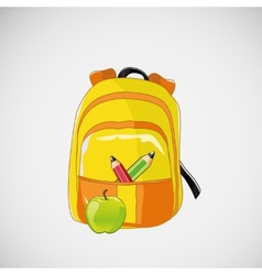Bright school backpack with pencils and an apple vector