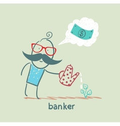 Banker plant watering and thinks about the dollar vector