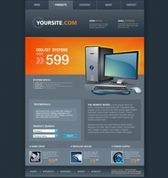 Computer shop web template vector