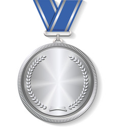 Champion silver medal with ribbon on white vector