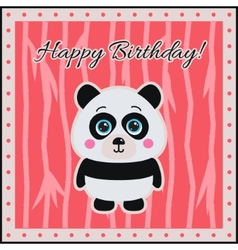 Happy birthday panda on a coral background vector