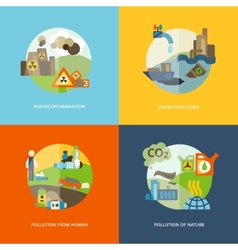 Pollution icons flat vector