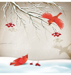 Winter landscape with birds vector