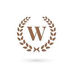 Letter w laurel wreath logo icon design template vector