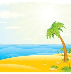 Sunny tropical island beach vector