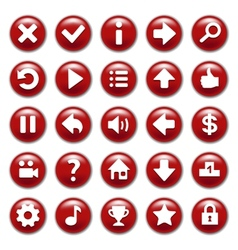 Red game buttons set vector