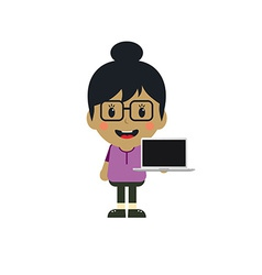 Cute girl with laptop cartoon character vector
