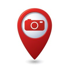 Map pointer with camera icon vector