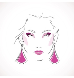 Front expressive look of fashion woman vector