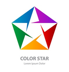 Star logo abstract geometric symbol rainbow vector
