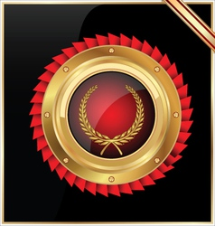 Round gold and red glossy label vector