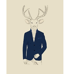 Vintage of a deer in a suit vector