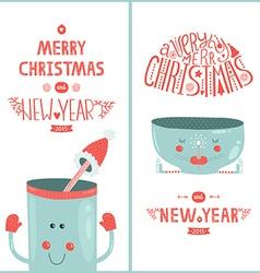 Christmas greeting card and new year with cute mug vector