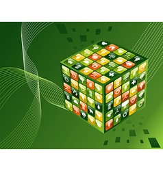 Green environment apps cube background vector