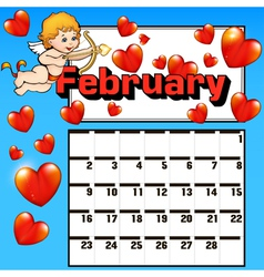 Calendar for february valentines day vector