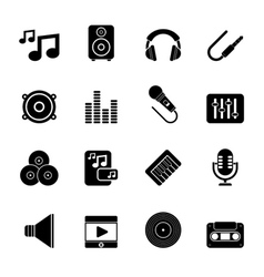 Silhouette music sound and audio icons vector