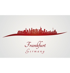Frankfurt skyline in red vector