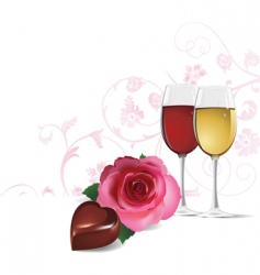 Rose wine and chocolate vector