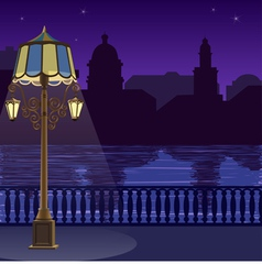 City skyline at night quay fence vector