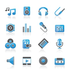 Sound and audio icons vector