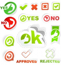 Yes and no icon set vector
