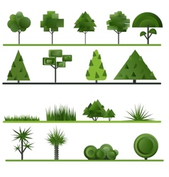 Set of abstract trees shrubs grass on a white vector