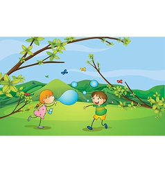 Kids playing blowing bubbles vector
