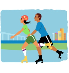 Couple roller skating vector