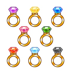 Gold rings with colorful diamonds vector
