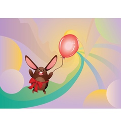 Chocolate bunny with balloon2 vector