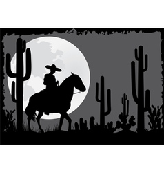 Horseman rides in the desert vector