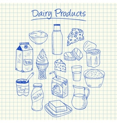 Dairy products doodles squared paper vector