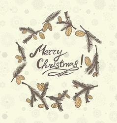 Fir cones greeting card congratulations with new vector
