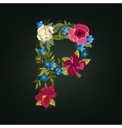 P letter flower capital alphabet colorful font vector