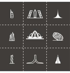 Buildings icon set vector