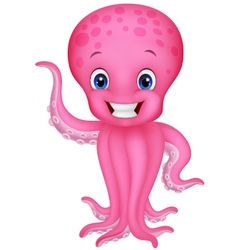 Cute cartoon octopus waving vector