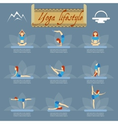 Yoga poses icons vector