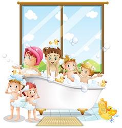 Children and bath vector