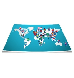 World map with pin vector