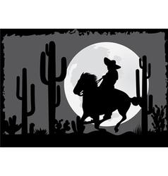 Horseman rides in the desert vector