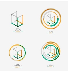 Minimal line design logo business icon block vector