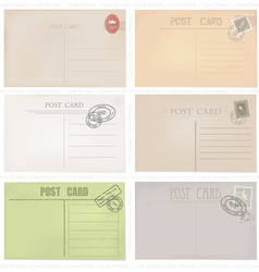 Six old post envelopes on a white background vector