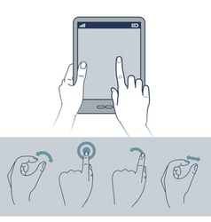 Hand icons - touchscreen interface vector