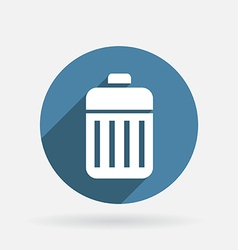 Basket garbage circle blue icon with shadow vector