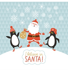 Cute penguins and santa vector