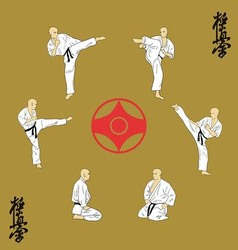 The six men are engaged in karate vector