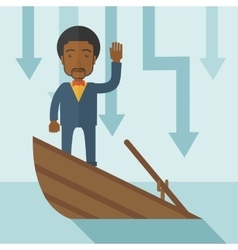 Failure black businessman standing on a sinking vector