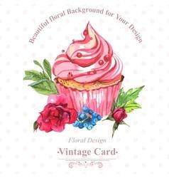 Vintage invitation card watercolor cupcakes and vector