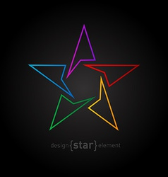 Abstract rainbow thin star design element on black vector