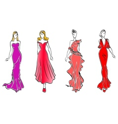 Womens in evening dresses vector